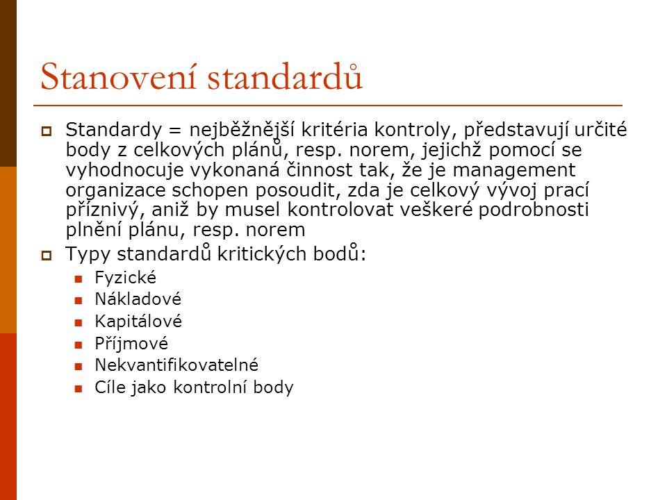 Stanovení standardů  Standardy = nejběžnější kritéria kontroly, představují určité body z celkových plánů, resp. norem, jejichž pomocí se vyhodnocuje