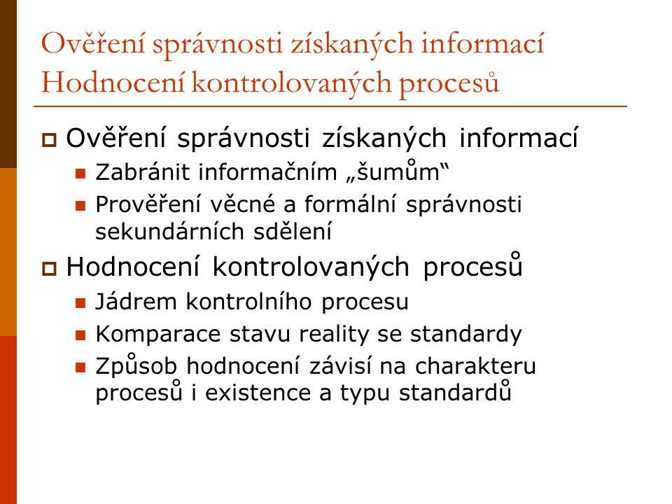 """Ověření správnosti získaných informací Hodnocení kontrolovaných procesů  Ověření správnosti získaných informací Zabránit informačním """"šumům"""" Prověřen"""
