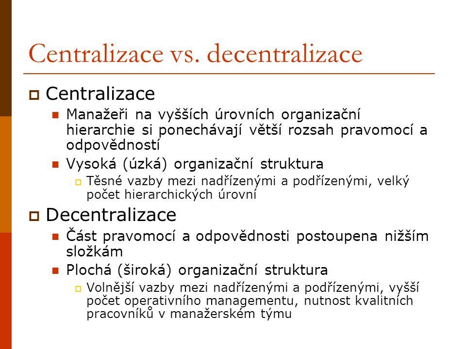 Centralizace  Výhody: Pracovník přijímající rozhodnutí má veškeré informace o činnosti organizace Pracovník přijímající rozhodnutí má lepší kvalifikaci a přípravu Odstraňují se duplicity, a tím snižují náklady Umožněna specializace  Nevýhody: Pracovník přijímající rozhodnutí nemusí mít vždy potřebné informace Pracovník přijímající rozhodnutí nemá kontakt s výkonnými úrovněmi, kde se rozhodnutí realizují Větší časové prodlevy při sdělování informací Nespokojenost pracovníků na nižších úrovních – nepodílí se na rozhodování Vyšší pravděpodobnost výskytu chybných řešení (na přípravě rozhodnutí podíl více osob)