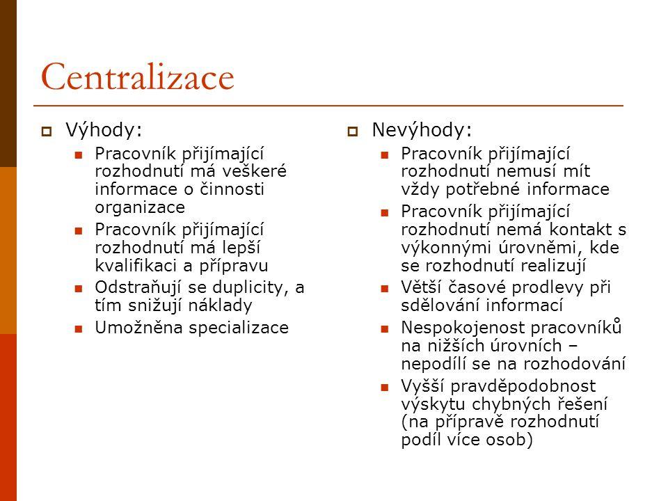 Funkcionální organizační struktura  Pracovní skupiny vytvářeny podle profesí, odbornosti, specializací, funkcí  Výhody: Ekonomie z rozsahu Specializace a přístup v rámci odbornosti Snadné vrcholové vedení a kontrola, dokonalá koordinace v rámci odbornosti Kvalita řešených problémů  Nevýhody: Slabá komunikace mezi odbornostmi, zpožďování zpráv Pomalé reakce na okolní změny, opožďování inovací Centralizace rozhodování Úzký pohled na cíle a organizace jako celku Problém s další manažerskou průpravou