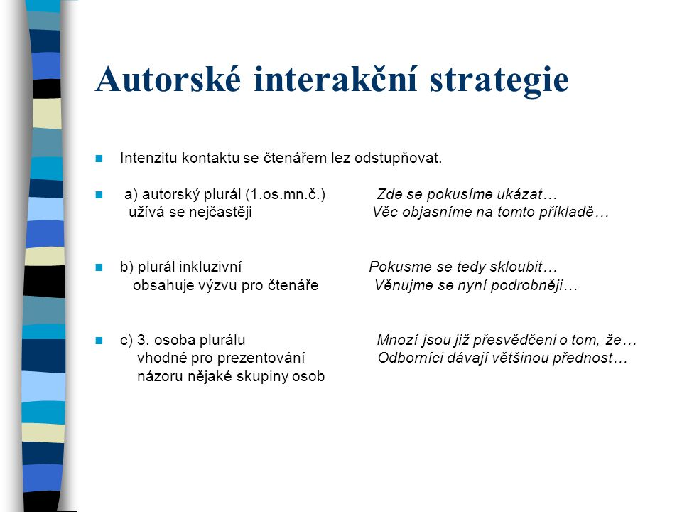 Autorské interakční strategie Intenzitu kontaktu se čtenářem lez odstupňovat. a) autorský plurál (1.os.mn.č.) Zde se pokusíme ukázat… užívá se nejčast