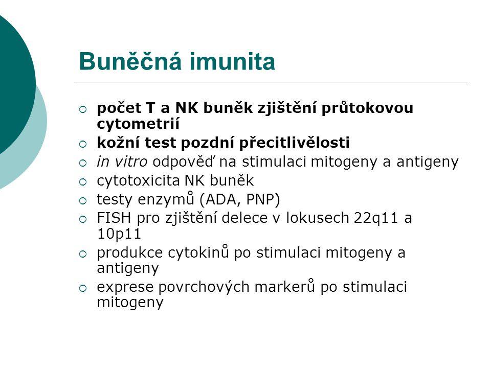 Buněčná imunita  počet T a NK buněk zjištění průtokovou cytometrií  kožní test pozdní přecitlivělosti  in vitro odpověď na stimulaci mitogeny a ant