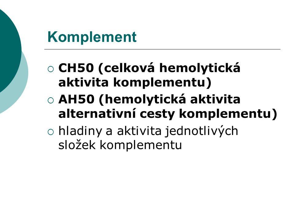 Komplement  CH50 (celková hemolytická aktivita komplementu)  AH50 (hemolytická aktivita alternativní cesty komplementu)  hladiny a aktivita jednotl
