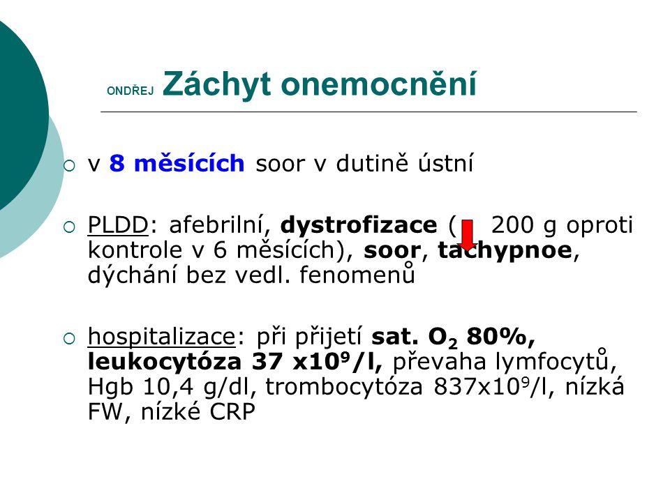 ONDŘEJ Záchyt onemocnění  v 8 měsících soor v dutině ústní  PLDD: afebrilní, dystrofizace ( 200 g oproti kontrole v 6 měsících), soor, tachypnoe, dý