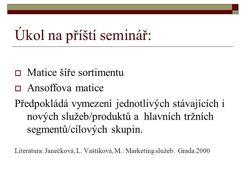 Úkol na příští seminář:  Matice šíře sortimentu  Ansoffova matice Předpokládá vymezení jednotlivých stávajících i nových služeb/produktů a hlavních