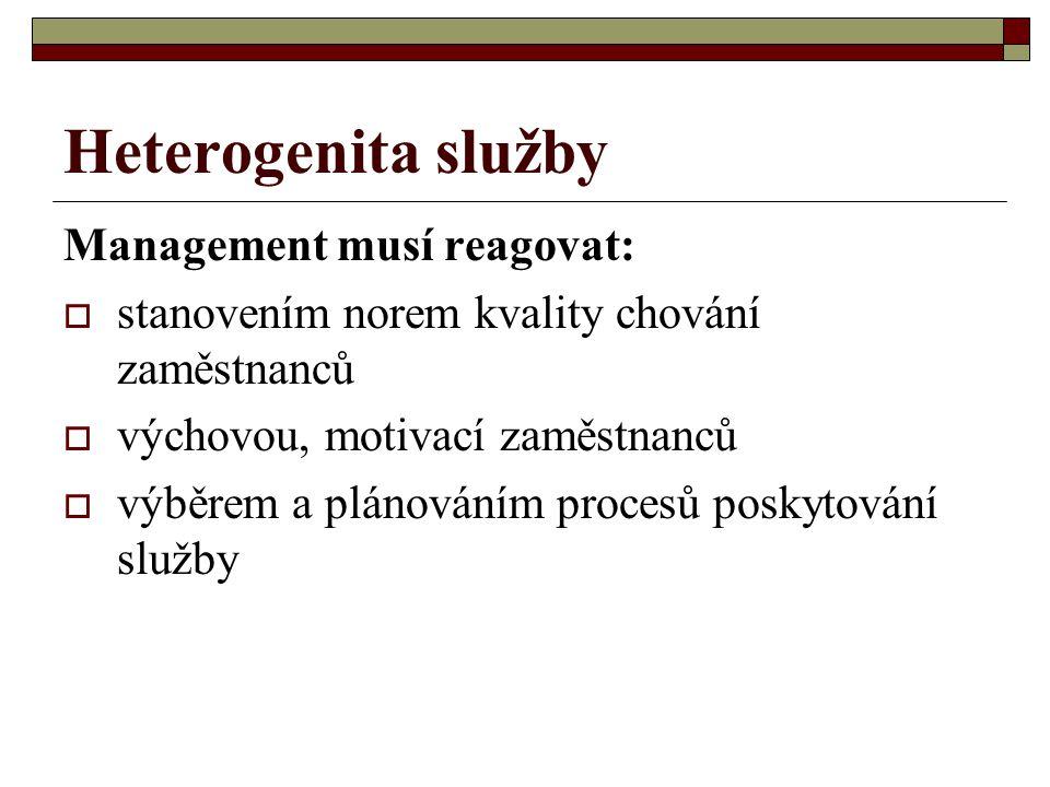 Heterogenita služby Management musí reagovat:  stanovením norem kvality chování zaměstnanců  výchovou, motivací zaměstnanců  výběrem a plánováním p
