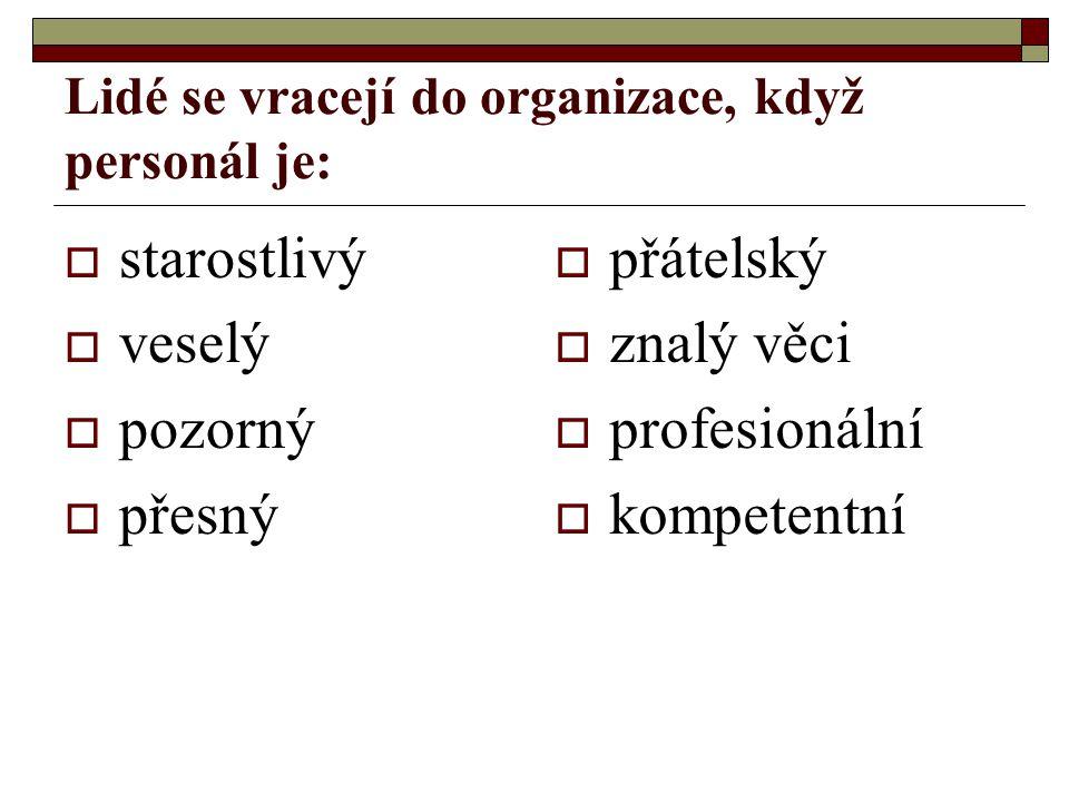 Lidé se vracejí do organizace, když personál je:  starostlivý  veselý  pozorný  přesný  přátelský  znalý věci  profesionální  kompetentní