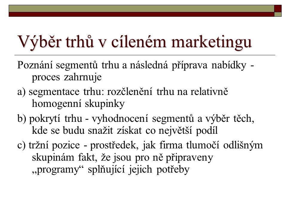 Výběr trhů v cíleném marketingu Poznání segmentů trhu a následná příprava nabídky - proces zahrnuje a) segmentace trhu: rozčlenění trhu na relativně h