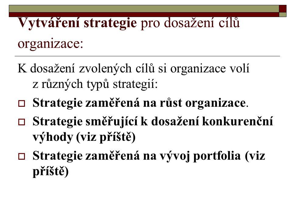 Vytváření strategie pro dosažení cílů organizace: K dosažení zvolených cílů si organizace volí z různých typů strategií:  Strategie zaměřená na růst