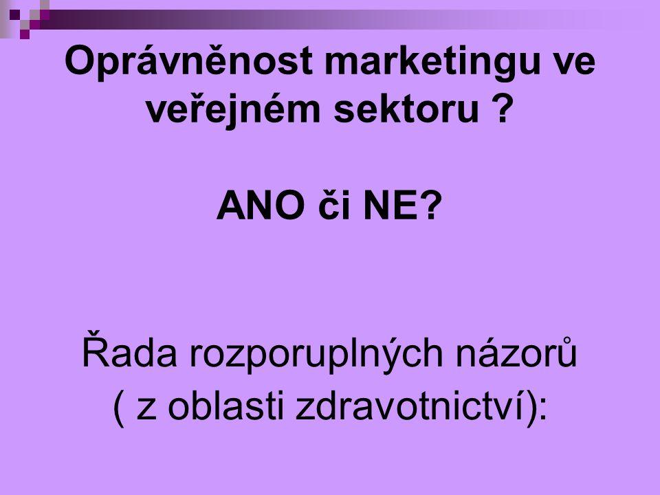 Oprávněnost marketingu ve veřejném sektoru ? ANO či NE? Řada rozporuplných názorů ( z oblasti zdravotnictví):