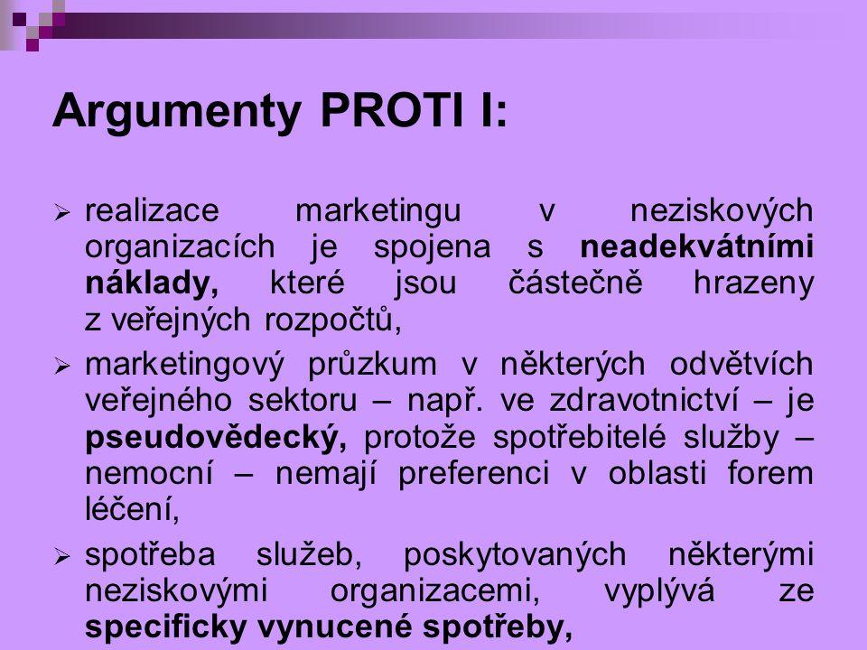 Argumenty PROTI I:  realizace marketingu v neziskových organizacích je spojena s neadekvátními náklady, které jsou částečně hrazeny z veřejných rozpo