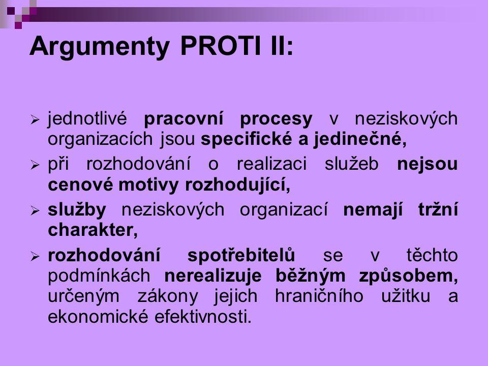 Argumenty PROTI II:  jednotlivé pracovní procesy v neziskových organizacích jsou specifické a jedinečné,  při rozhodování o realizaci služeb nejsou