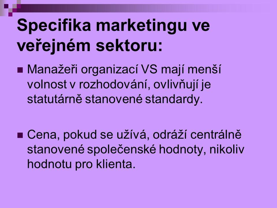 Specifika marketingu ve veřejném sektoru: Manažeři organizací VS mají menší volnost v rozhodování, ovlivňují je statutárně stanovené standardy. Cena,