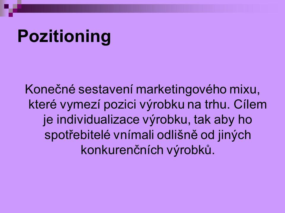 Pozitioning Konečné sestavení marketingového mixu, které vymezí pozici výrobku na trhu. Cílem je individualizace výrobku, tak aby ho spotřebitelé vním