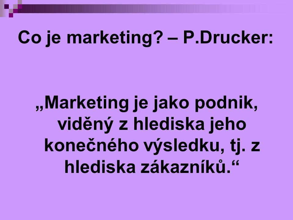"""Co je marketing? – P.Drucker: """"Marketing je jako podnik, viděný z hlediska jeho konečného výsledku, tj. z hlediska zákazníků."""""""
