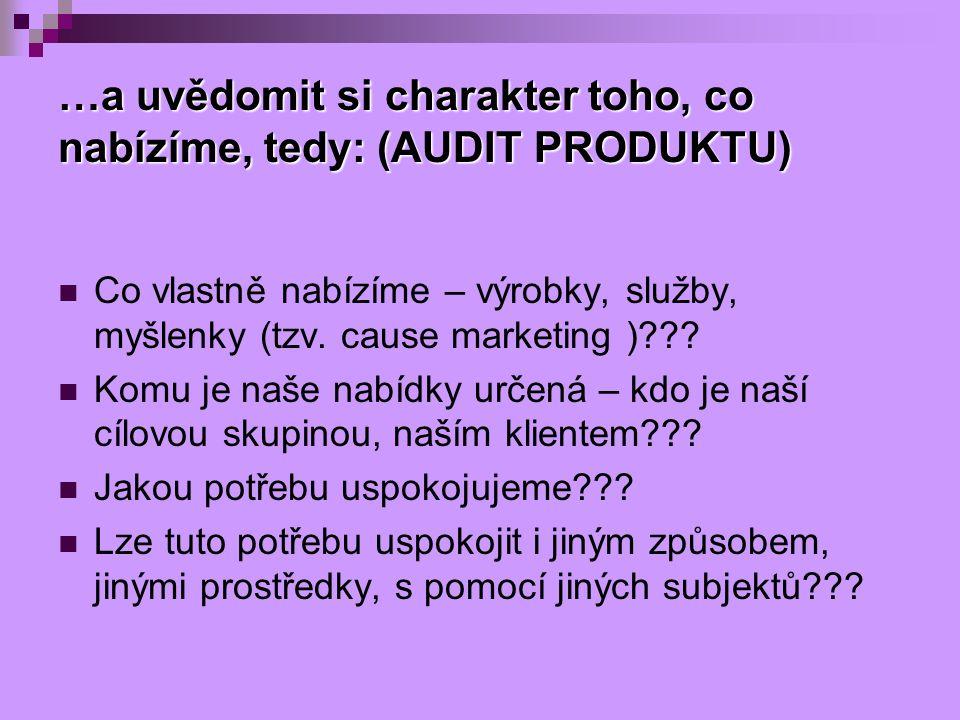 …a uvědomit si charakter toho, co nabízíme, tedy: (AUDIT PRODUKTU) Co vlastně nabízíme – výrobky, služby, myšlenky (tzv. cause marketing )??? Komu je