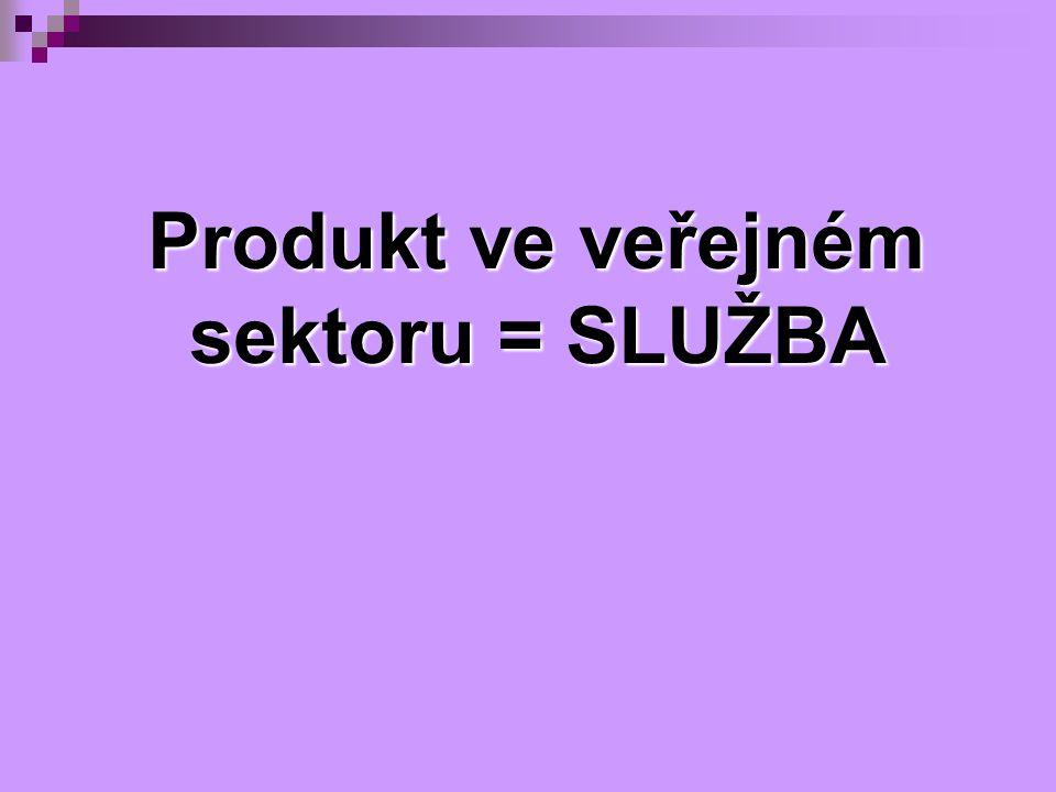 Produkt ve veřejném sektoru = SLUŽBA