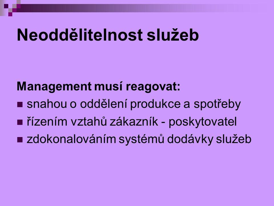 Neoddělitelnost služeb Management musí reagovat: snahou o oddělení produkce a spotřeby řízením vztahů zákazník - poskytovatel zdokonalováním systémů d