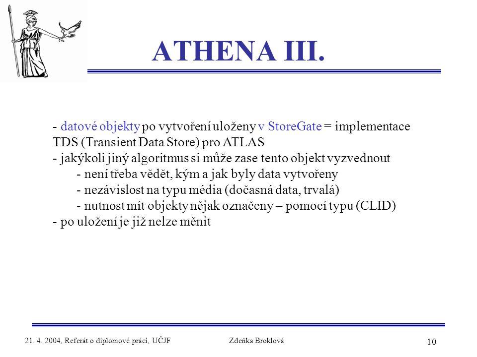 10 21. 4. 2004, Referát o diplomové práci, UČJFZdeňka Broklová ATHENA III. - datové objekty po vytvoření uloženy v StoreGate = implementace TDS (Trans