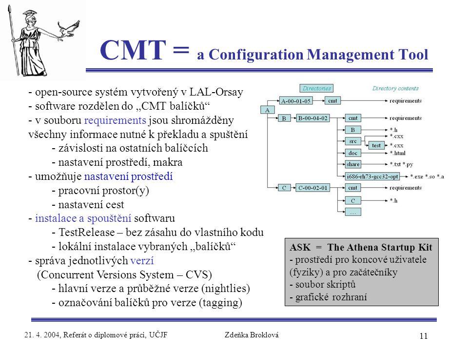 11 21. 4. 2004, Referát o diplomové práci, UČJFZdeňka Broklová CMT = a Configuration Management Tool - open-source systém vytvořený v LAL-Orsay - soft