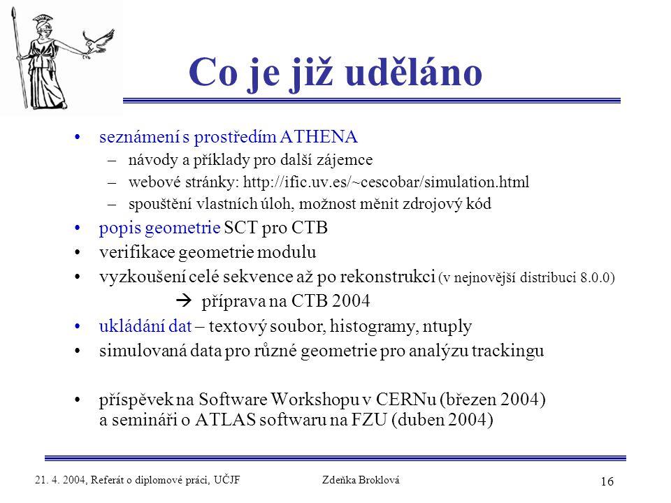 16 21. 4. 2004, Referát o diplomové práci, UČJFZdeňka Broklová Co je již uděláno seznámení s prostředím ATHENA –návody a příklady pro další zájemce –w