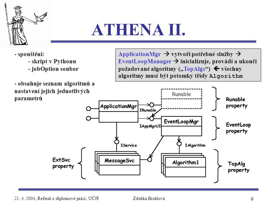 9 21. 4. 2004, Referát o diplomové práci, UČJFZdeňka Broklová ATHENA II. - spouštění: - skript v Pythonu - jobOption soubor - obsahuje seznam algoritm
