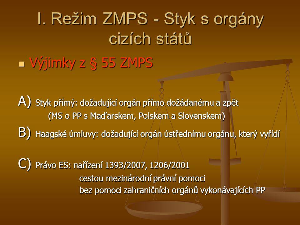 I. Režim ZMPS - Styk s orgány cizích států Výjimky z § 55 ZMPS Výjimky z § 55 ZMPS A) Styk přímý: dožadující orgán přímo dožádanému a zpět (MS o PP s