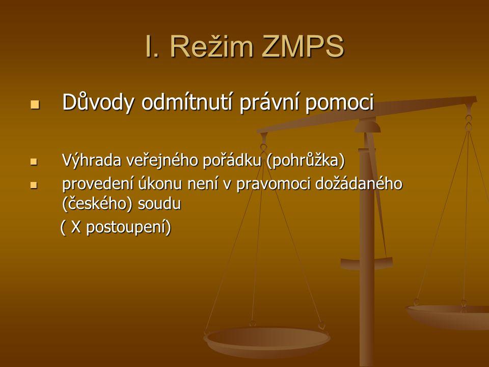 I. Režim ZMPS Důvody odmítnutí právní pomoci Důvody odmítnutí právní pomoci Výhrada veřejného pořádku (pohrůžka) Výhrada veřejného pořádku (pohrůžka)