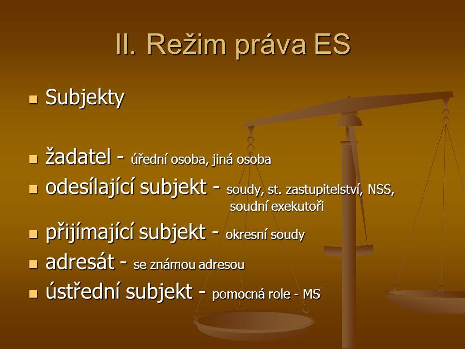 II. Režim práva ES Subjekty Subjekty žadatel - úřední osoba, jiná osoba žadatel - úřední osoba, jiná osoba odesílající subjekt - soudy, st. zastupitel