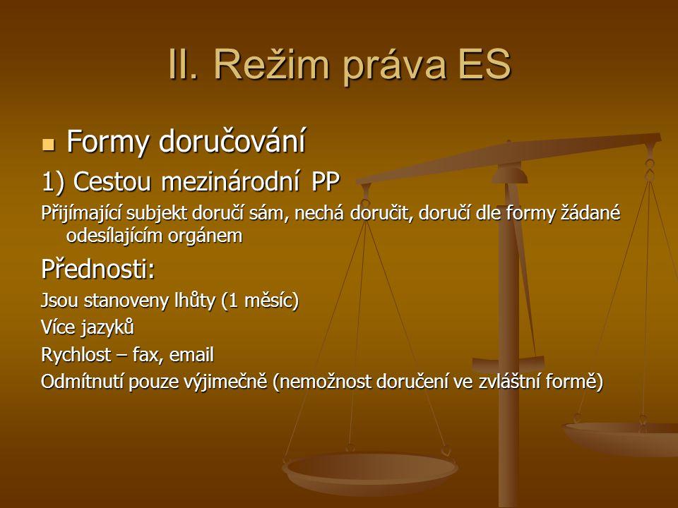 II. Režim práva ES Formy doručování Formy doručování 1) Cestou mezinárodní PP Přijímající subjekt doručí sám, nechá doručit, doručí dle formy žádané o