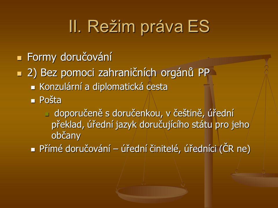 II. Režim práva ES Formy doručování Formy doručování 2) Bez pomoci zahraničních orgánů PP 2) Bez pomoci zahraničních orgánů PP Konzulární a diplomatic