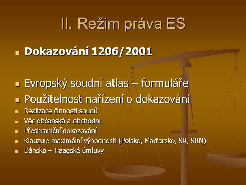 II. Režim práva ES Dokazování 1206/2001 Dokazování 1206/2001 Evropský soudní atlas – formuláře Evropský soudní atlas – formuláře Použitelnost nařízení