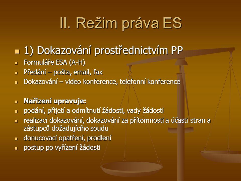 II. Režim práva ES 1) Dokazování prostřednictvím PP 1) Dokazování prostřednictvím PP Formuláře ESA (A-H) Formuláře ESA (A-H) Předání – pošta, email, f