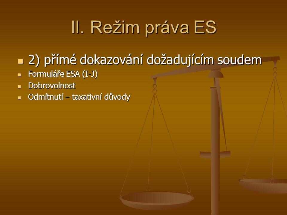 II. Režim práva ES 2) přímé dokazování dožadujícím soudem 2) přímé dokazování dožadujícím soudem Formuláře ESA (I-J) Formuláře ESA (I-J) Dobrovolnost