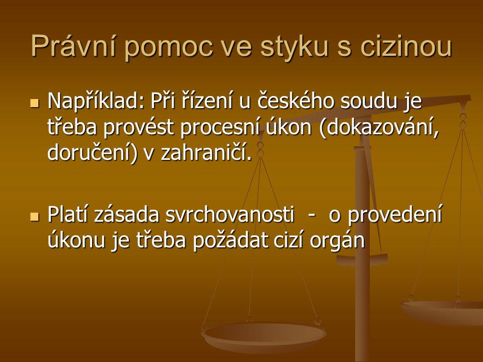Právní pomoc ve styku s cizinou Například: Při řízení u českého soudu je třeba provést procesní úkon (dokazování, doručení) v zahraničí. Například: Př