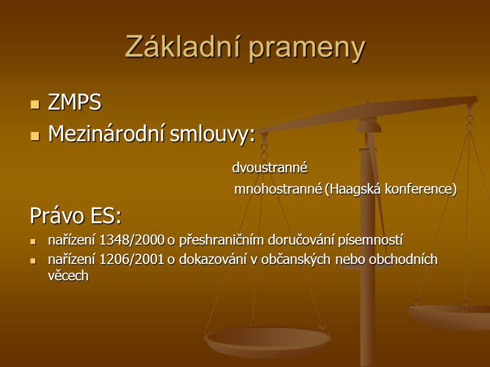 Základní prameny ZMPS ZMPS Mezinárodní smlouvy: Mezinárodní smlouvy: dvoustranné dvoustranné mnohostranné (Haagská konference) mnohostranné (Haagská konference) Právo ES: nařízení 1348/2000 o přeshraničním doručování písemností nařízení 1348/2000 o přeshraničním doručování písemností nařízení 1206/2001 o dokazování v občanských nebo obchodních věcech nařízení 1206/2001 o dokazování v občanských nebo obchodních věcech