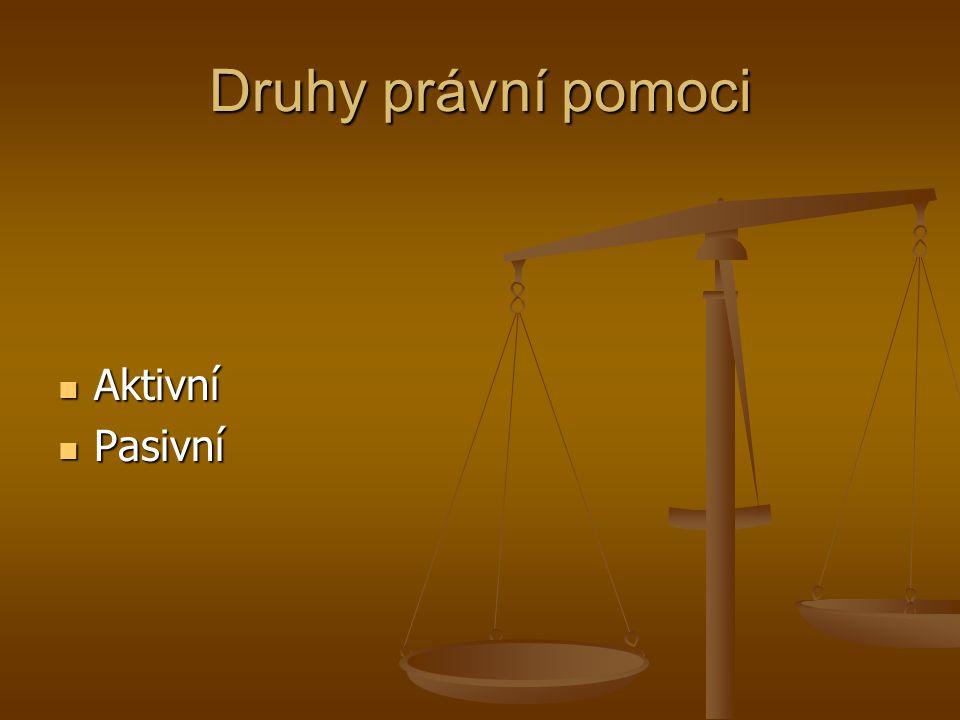 Druhy právní pomoci Aktivní Aktivní Pasivní Pasivní