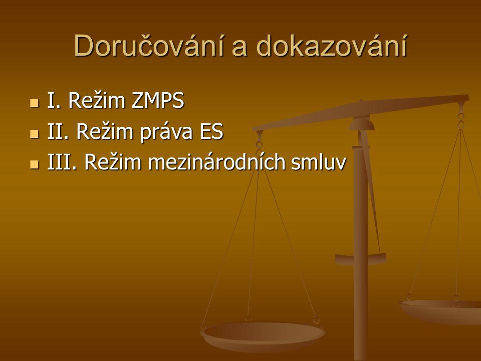 Doručování a dokazování I. Režim ZMPS I. Režim ZMPS II. Režim práva ES II. Režim práva ES III. Režim mezinárodních smluv III. Režim mezinárodních smlu
