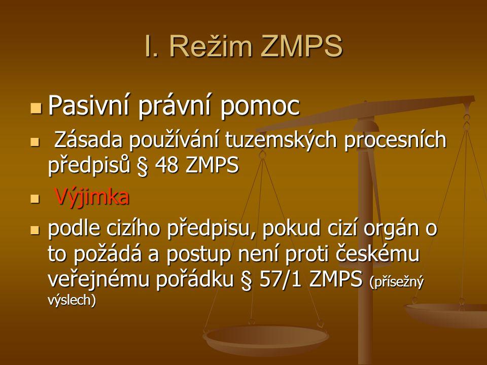 I. Režim ZMPS Pasivní právní pomoc Pasivní právní pomoc Zásada používání tuzemských procesních předpisů § 48 ZMPS Zásada používání tuzemských procesní