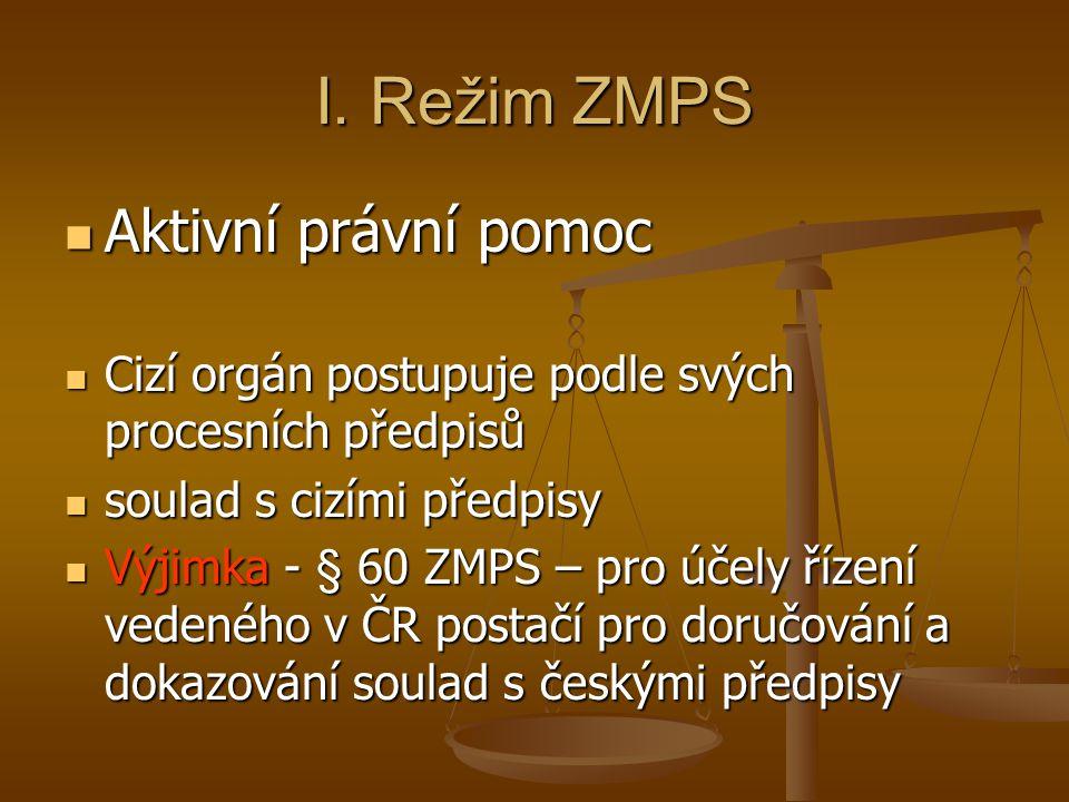 I. Režim ZMPS Aktivní právní pomoc Aktivní právní pomoc Cizí orgán postupuje podle svých procesních předpisů Cizí orgán postupuje podle svých procesní