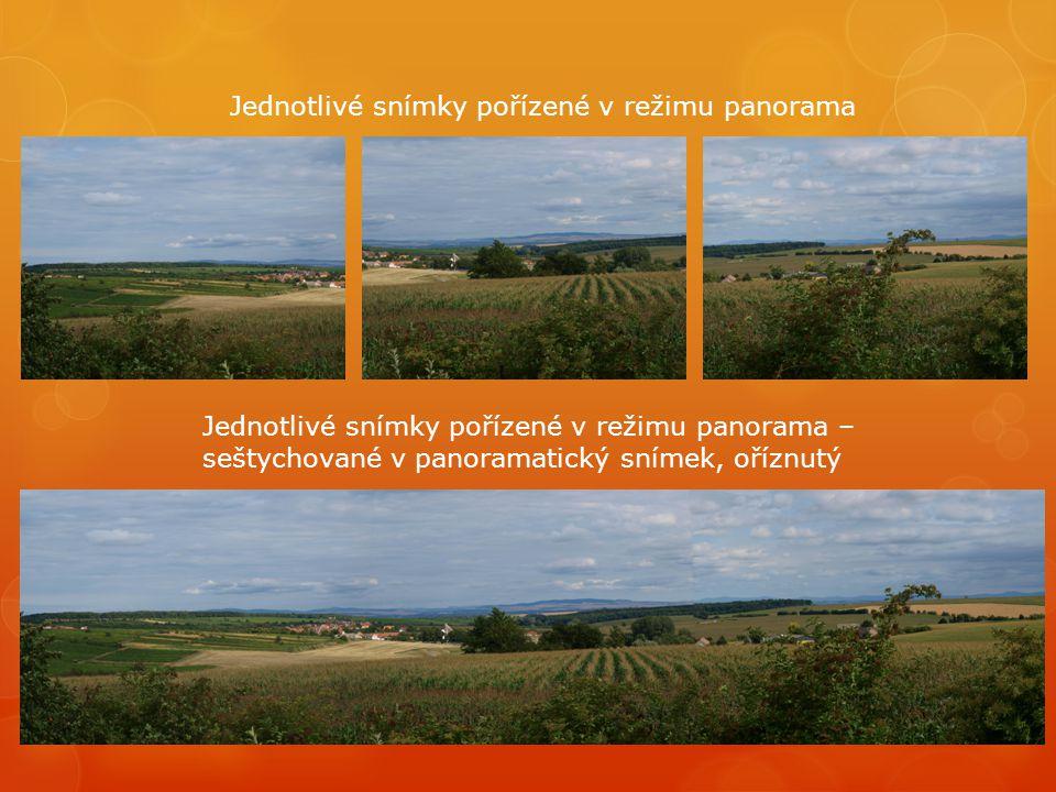 Jednotlivé snímky pořízené v režimu panorama Jednotlivé snímky pořízené v režimu panorama – seštychované v panoramatický snímek, oříznutý