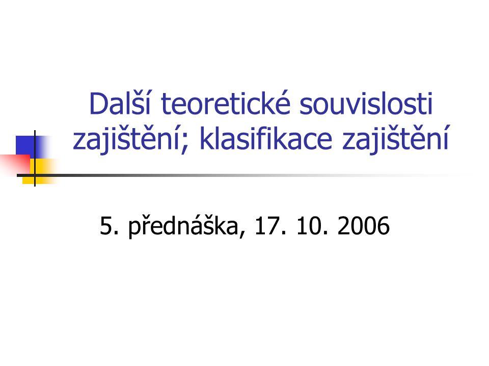 Další teoretické souvislosti zajištění; klasifikace zajištění 5. přednáška, 17. 10. 2006