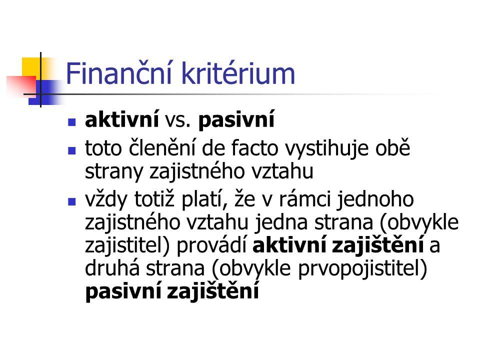 Finanční kritérium aktivní vs. pasivní toto členění de facto vystihuje obě strany zajistného vztahu vždy totiž platí, že v rámci jednoho zajistného vz