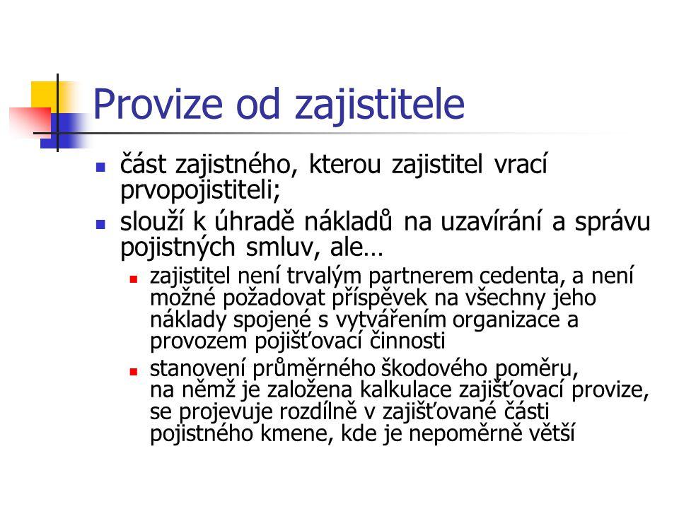 Provize od zajistitele část zajistného, kterou zajistitel vrací prvopojistiteli; slouží k úhradě nákladů na uzavírání a správu pojistných smluv, ale… zajistitel není trvalým partnerem cedenta, a není možné požadovat příspěvek na všechny jeho náklady spojené s vytvářením organizace a provozem pojišťovací činnosti stanovení průměrného škodového poměru, na němž je založena kalkulace zajišťovací provize, se projevuje rozdílně v zajišťované části pojistného kmene, kde je nepoměrně větší