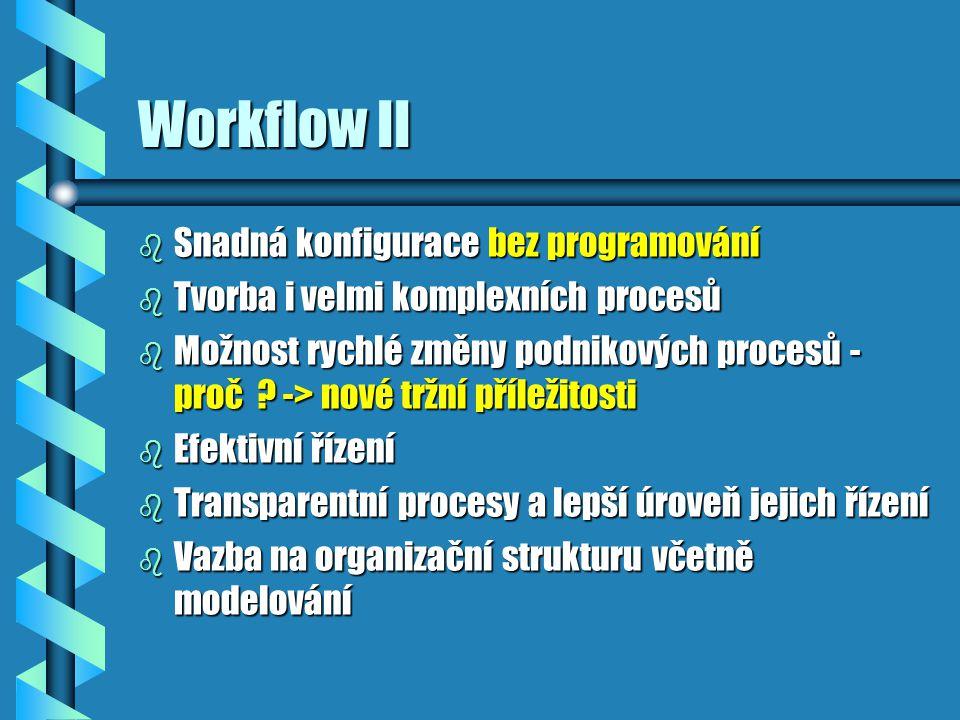 Workflow III b Možnost spolupráce skupiny na vytváření dokumentů b Směrování dokumentů na základě : konkrétní uživatel (konkrétní adresa]konkrétní uživatel (konkrétní adresa] funkce nebo dovednostfunkce nebo dovednost b Každý uživatel - > množina jeho úloh b Seznam událostí -> vazba na standardní IS b Možnost schválit dokumenty b Možnost vracet dokumenty