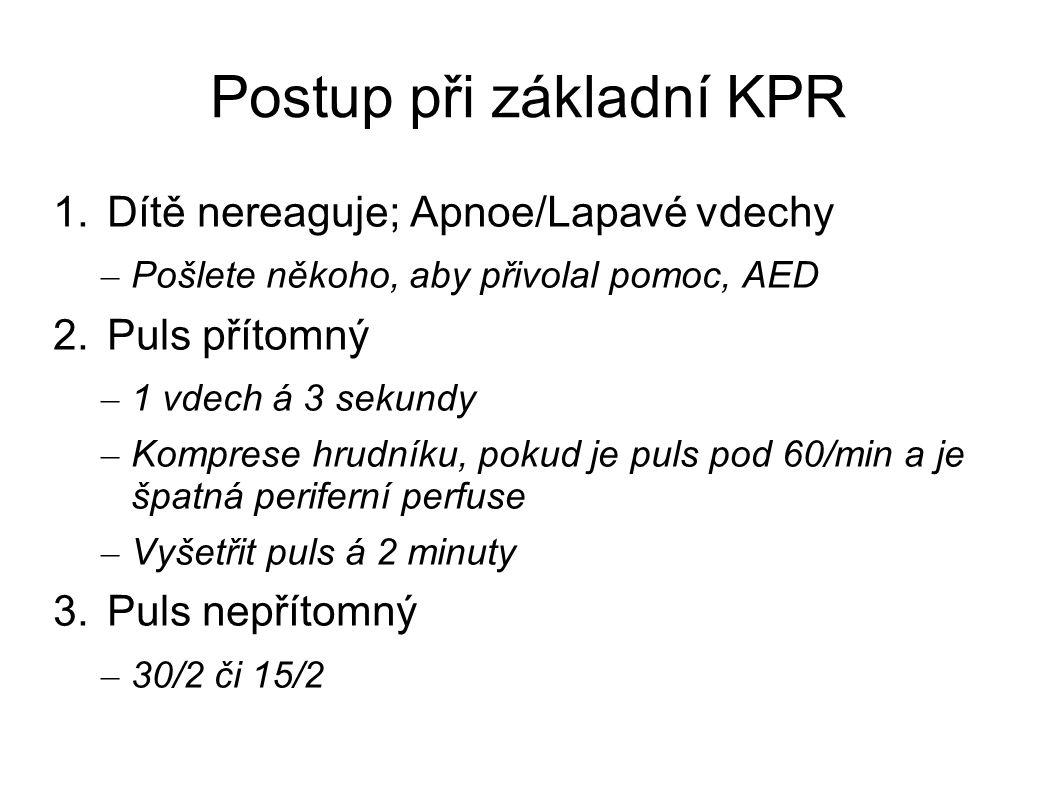 Postup při základní KPR 1.Dítě nereaguje; Apnoe/Lapavé vdechy – Pošlete někoho, aby přivolal pomoc, AED 2.Puls přítomný – 1 vdech á 3 sekundy – Kompre