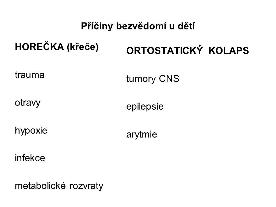 Příčiny bezvědomí u dětí HOREČKA (křeče) trauma otravy hypoxie infekce metabolické rozvraty ORTOSTATICKÝ KOLAPS tumory CNS epilepsie arytmie