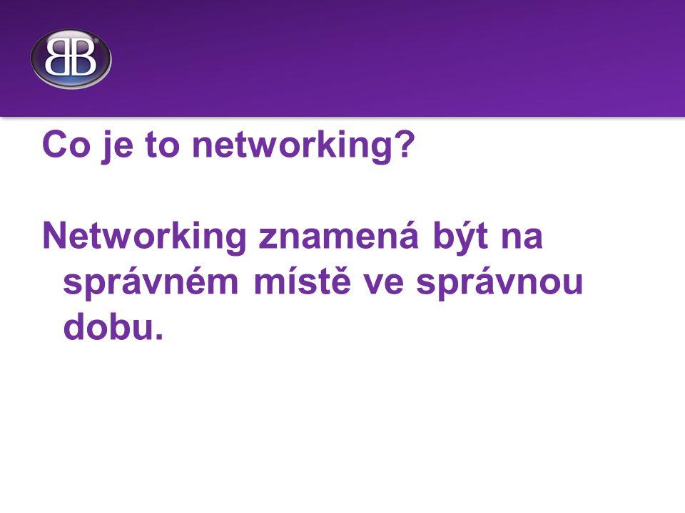 Co je to networking Networking znamená být na správném místě ve správnou dobu.