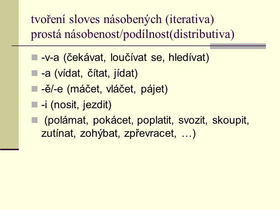 tvoření sloves násobených (iterativa) prostá násobenost/podílnost(distributiva) -v-a (čekávat, loučívat se, hledívat) -a (vídat, čítat, jídat) -ě/-e (