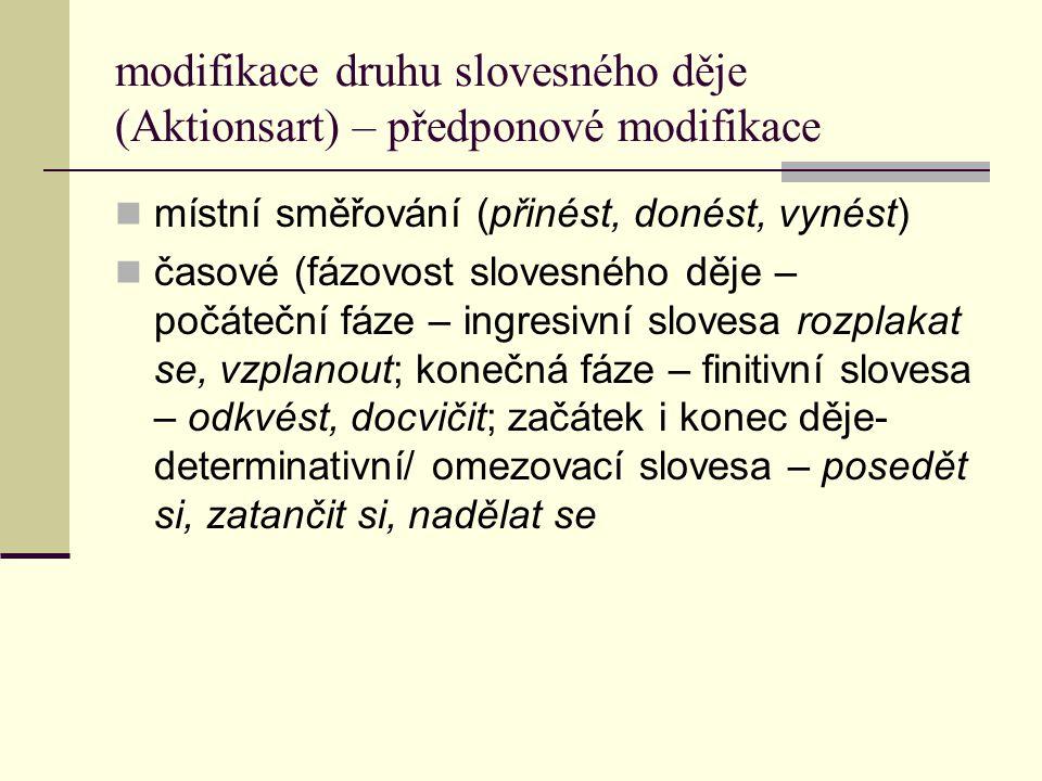 modifikace druhu slovesného děje (Aktionsart) – předponové modifikace místní směřování (přinést, donést, vynést) časové (fázovost slovesného děje – po